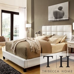 Tribecca Home Sarajevo Queen-size White Faux Leather Bed