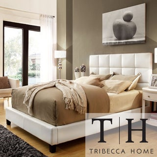 TRIBECCA HOME Sarajevo Queen-Sized White Faux Leather Bed