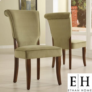ETHAN HOME Andorra Olive Velvet Upholstered Dining Chair (Set of 2)