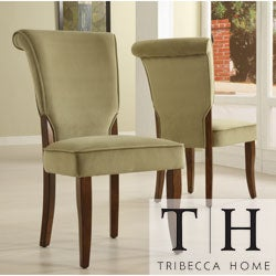 TRIBECCA HOME Andorra Olive Velvet Upholstered Dining Chair (Set of 2)