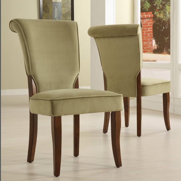 andorra olive velvet upholstered dining chair set of 2