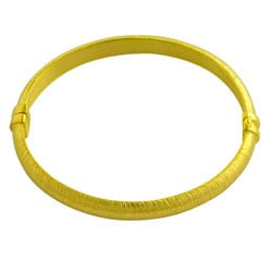 GoldKist 18k Yellow Gold over Silver Brushed Bangle Bracelet