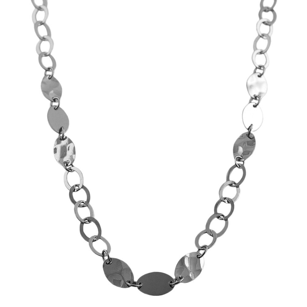 Fremada Rhodiumplated Sterling Silver Hammered Oval Disc Necklace