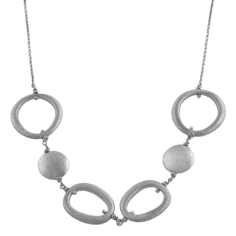 Fremada Sterling Silver Polished Discs and Satin Oval Link Necklace