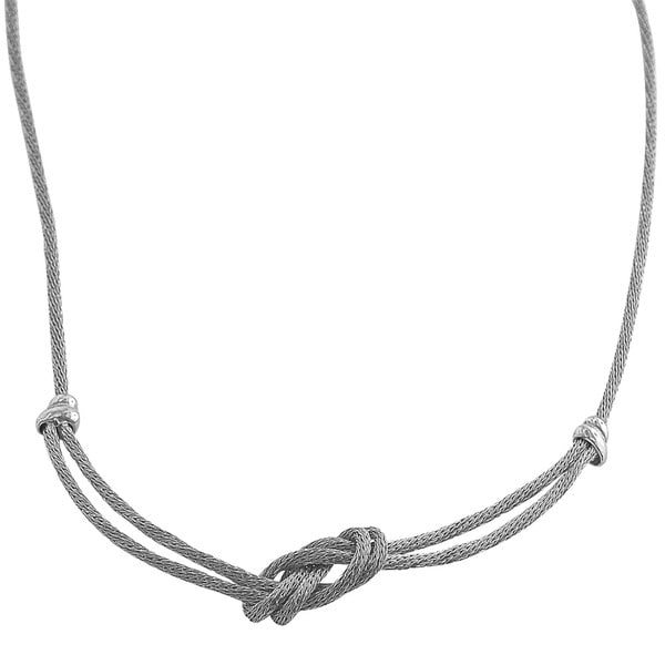 Fremada Sterling Silver 2-strand Twisted Mesh Knot Necklace 7462825