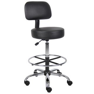 Boss CaressoftPlus Drafting Stool with Back Cushion