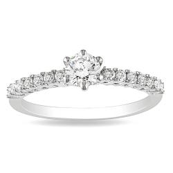 14k White Gold 1/2ct TDW Round Solitaire Diamond Ring (G-H, I1-I2)