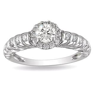 Miadora 14k White Gold 5/8ct TDW Diamond Engagement Ring