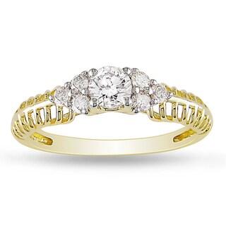 Miadora 10k Yellow Gold 1/2ct TDW Diamond Engagement Ring Ring (G-H, I2-I3)