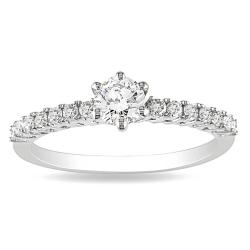 10k White Gold 1/2ct TDW 6-Prong Round Solitaire With Side Stones Diamond Ring (G-H, I2-I3)