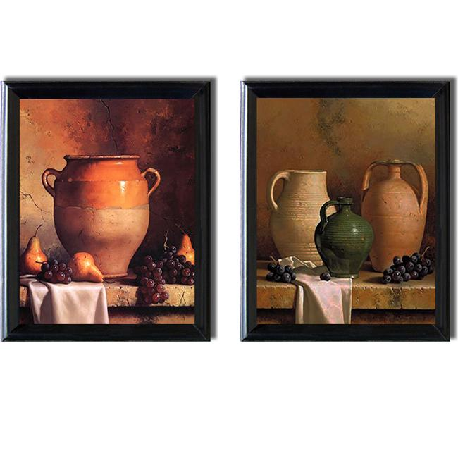 Loran Speck 'Jugs and Jars Set' Framed 2-piece Canvas Art Set