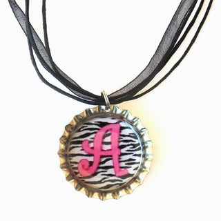 Hot Pink on Zebra Monogram Bottle Cap Necklace