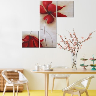 'Red Flowers 255' Hand-painted Canvas Art Set