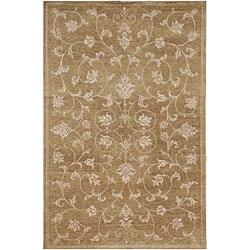 Hand-knotted Ankara Brown Floral Wool/ Viscose Rug (5'6 x 8'6)