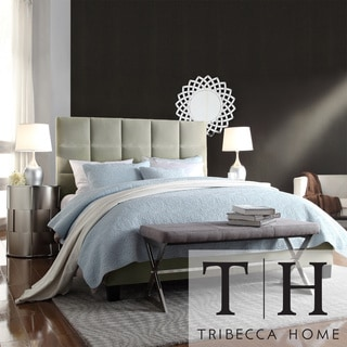 TRIBECCA HOME Sarajevo Queen-Sized Taupe Velvet Tufted Bed