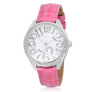 Guess Women's W11130L1 Casual Pink Leather Watch