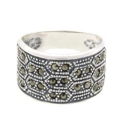 Dolce Giavonna Sterling Silver Marcasite Wide Ring