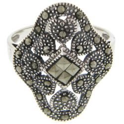 Dolce Giavonna Sterling Silver Marcasite Heart Design Ring