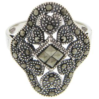 Dolce Giavonna Sterling Silver Marcasite Heart Design Ring (Size 8)