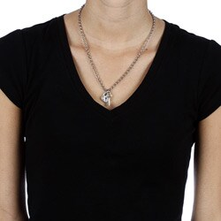 Charming Life Pewter and Silvertone 'Key to my Heart' Charm Necklace