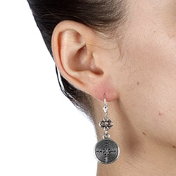Charming Life Silver and Pewter Labyrinth Earrings
