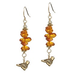 Charming Life 14k Goldfill Bird Charm Amber Chip Earrings