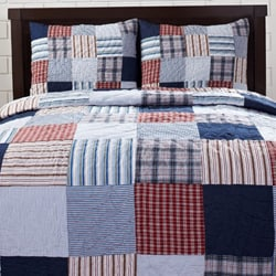 Bradley Red/ Blue Patch 3-piece Quilt Set