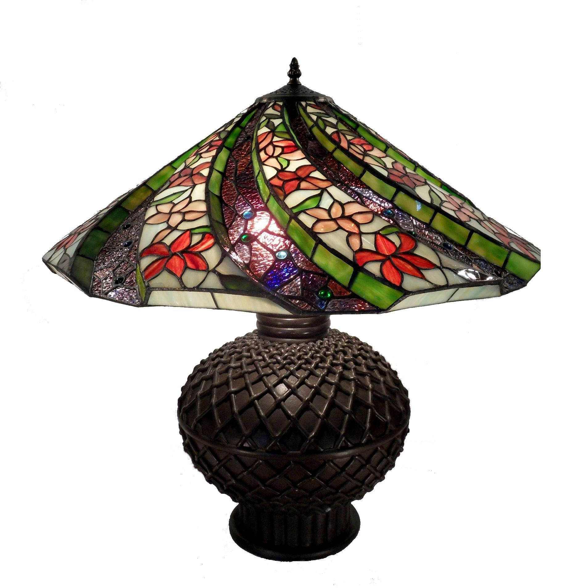 tiffany style dragonfly cone 2 light table lamp. Black Bedroom Furniture Sets. Home Design Ideas
