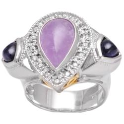 Michael Valitutti Silver Amethyst, Iolite and Sapphire Ring