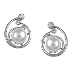 Elegant Kabella Sterling Silver Freshwater Pearl and Cubic Zirconia Earrings (6-7 mm)