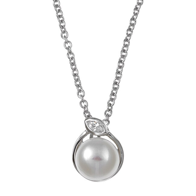 Kabella Sterling Silver White Freshwater Pearl and Cubic Zirconia Necklace (8-9 mm)