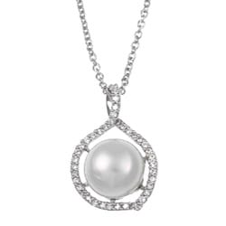 Kabella Sterling Silver Freshwater Pearl and Cubic Necklace (11-12 mm)