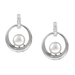 Kabella Sterling Silver Freshwater Pearl and Cubic Zirconia Earrings (7-8 mm)