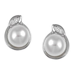 Kabella Sterling Silver Freshwater Pearl and Cubic Zirconia Stud Earrings (6-7 mm)
