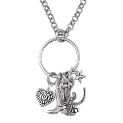 Charming Life Pewter and Silvertone 'Western Cowgirl' Charm Necklace