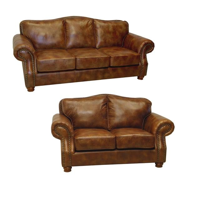 Brandon Distressed Whiskey Italian Leather Sofa And Loveseat 13278843 Shopping