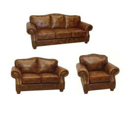 Brandon Distressed Whiskey Italian Leather Sofa, Loveseat and Chair