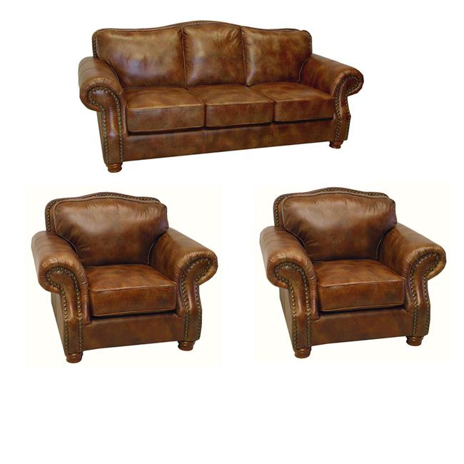 Brandon Distressed Whiskey Italian Leather Sofa and Two Chairs