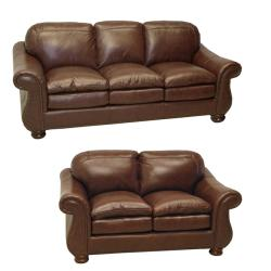 Yale Mahogany Italian Leather Sofa and Loveseat