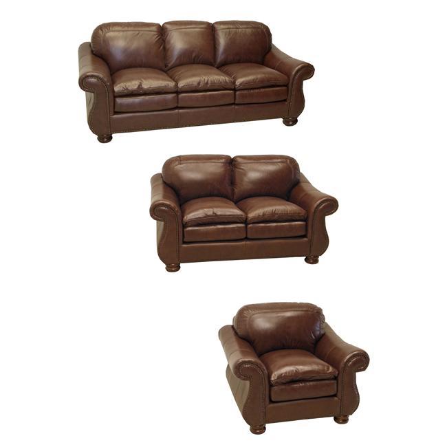 Yale Mahogany Italian Leather Sofa, Loveseat and Chair
