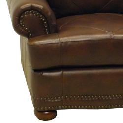 Shoreline Chocolate Italian Leather Sofa and Chair