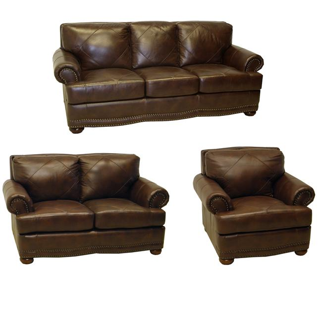 Shoreline Chocolate Italian Leather Sofa, Loveseat and Chair