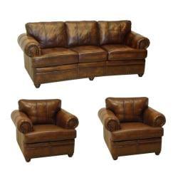 Tudor Bourbon Hand Rubbed Italian Leather Sofa And Two