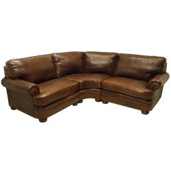 Redmond Distressed Mahogany Italian Leather Sectional Sofa