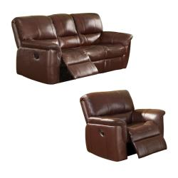 Concorde Wine Italian Leather Reclining Sofa and Recliner Chair