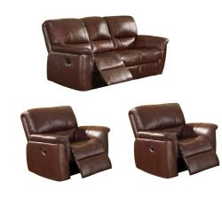 Concorde Wine Italian Leather Reclining Sofa and Two Reclining Chairs