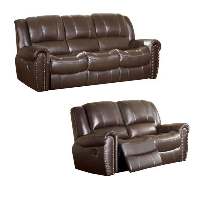 Chelsea Espresso Italian Leather Reclining Sofa and Loveseat