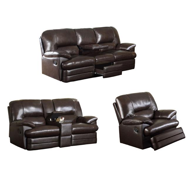 Coney Coffee Leather Reclining Sofa Loveseat And Reclining Chair 13278888
