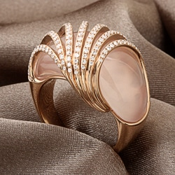 Miadora 18k Pink Gold Quartz and 7/8ct TDW Diamond Ring (G-H, SI1-SI2)