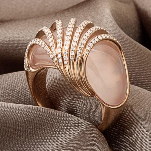 Miadora Signature Collection 18k Pink Gold Quartz and 7/8ct TDW Diamond Ring (G-H, SI1-SI2)